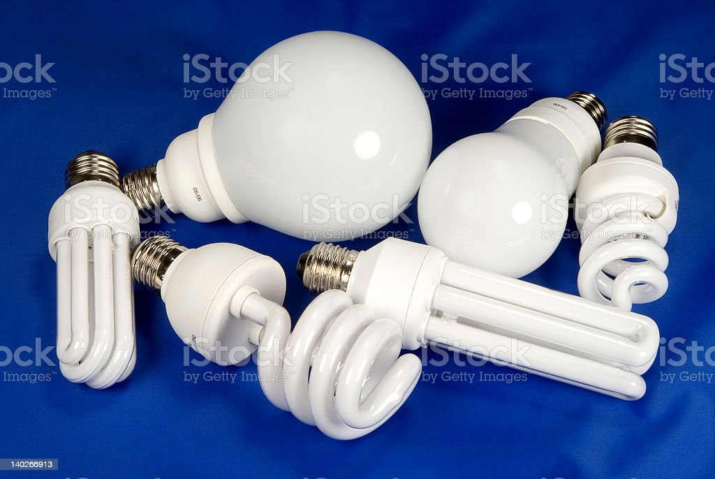 Assortment of different types of light bulbs royalty-free stock photo