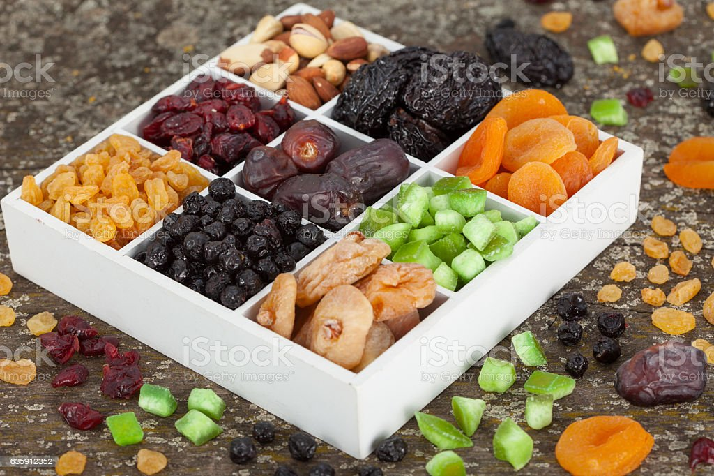 Assortment of dried fruit stock photo