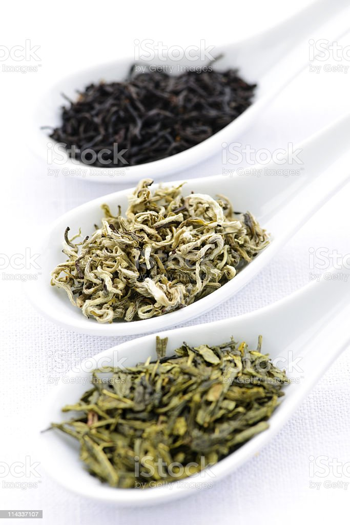 Assortment of dry tea leaves in spoons royalty-free stock photo