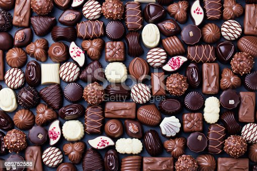 istock Assortment of fine chocolate candies. Top view 689752588