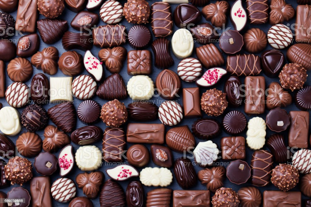 Assortment of fine chocolate candies. Top view stock photo