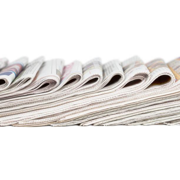 sortiment von gefaltet zeitungen - papierrollenhalter stock-fotos und bilder