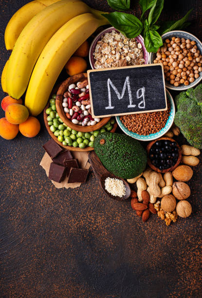 assortment of  food containing magnesium - magnesium stock photos and pictures