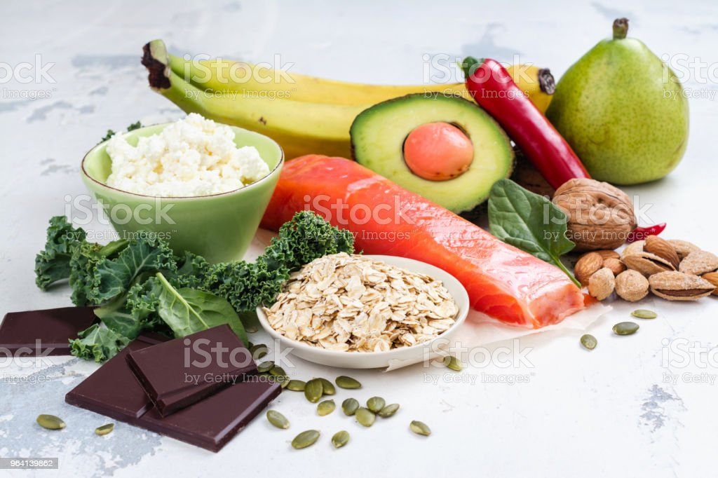 Assortment of food - natural sources of dopamine stock photo