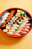 Assortment of fresh and delicious sushi