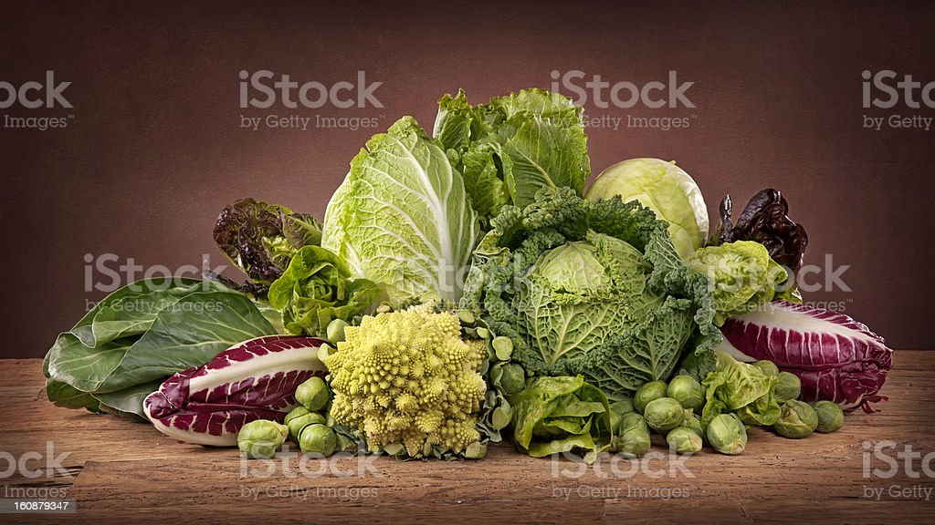 Assortment of fresh cabbages royalty-free stock photo