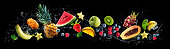 istock Assortment of fresh fruits and water splashes on panoramic background 1285272101