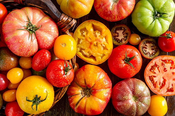 Assortment of Fresh Heirloom Tomatoes stock photo