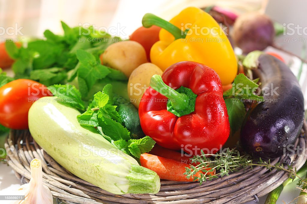 Assortment of fresh vegetables and herb royalty-free stock photo