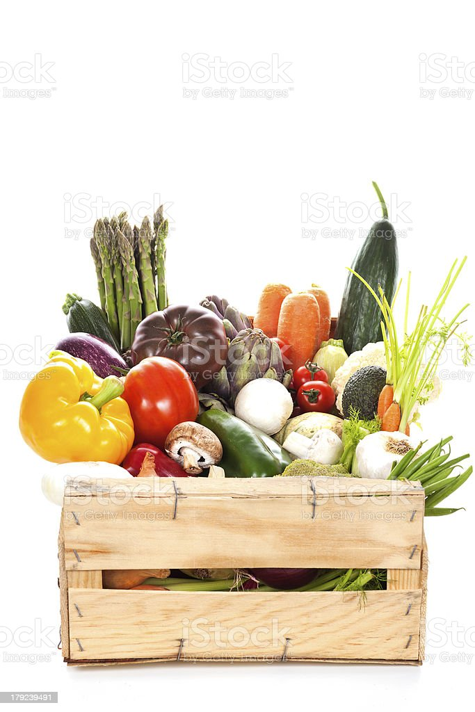 Assortment of fresh vegetables in a crate royalty-free stock photo