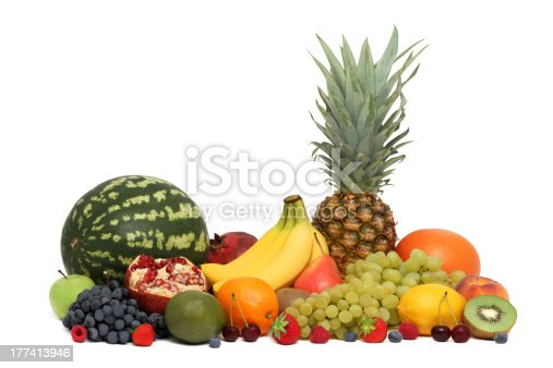 istock Assortment of fruits and berries (isolated) 177413946