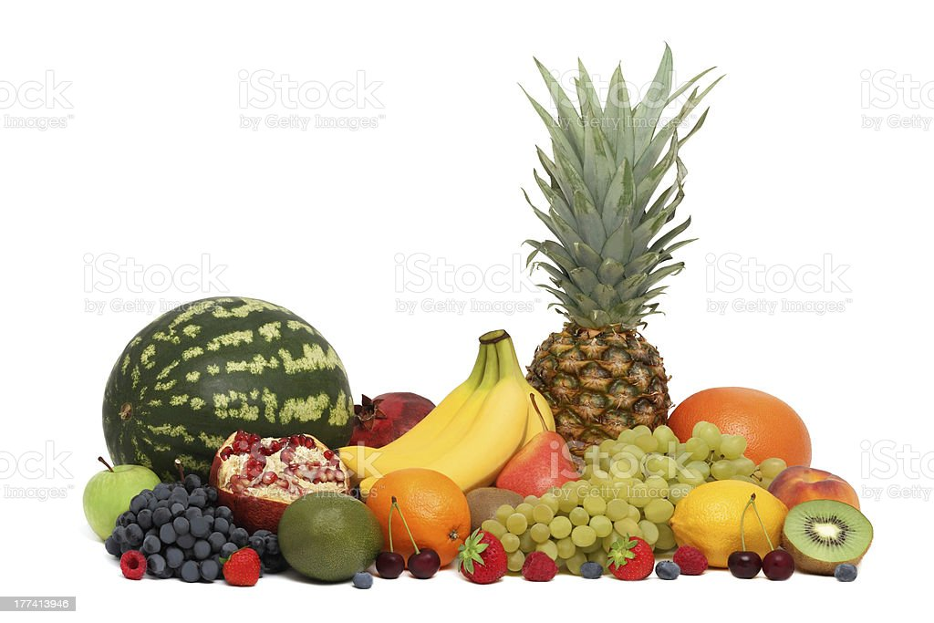 Assortment of fruits and berries (isolated) stock photo