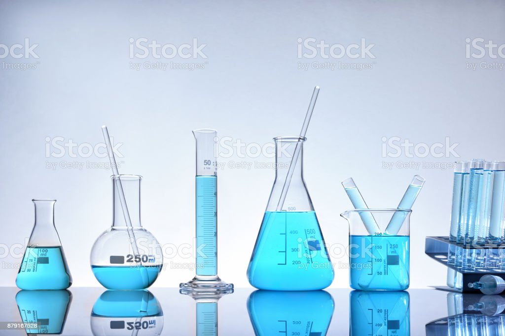 Assortment of glass containers for laboratory general view royalty-free stock photo
