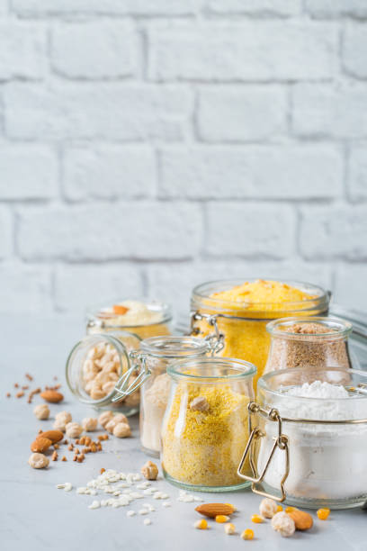 Assortment of gluten free food and flour stock photo