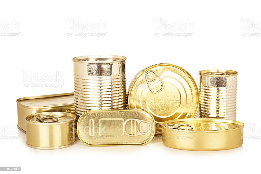 Assortment of golden food tin can royalty-free stock photo