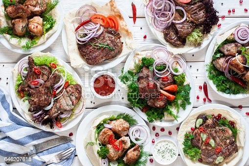 646207652istockphoto Assortment of grilled meat meals flat lay 646207618
