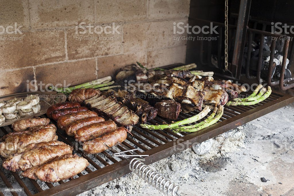 Assortment of grilled meat stock photo