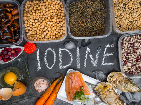 istock Assortment of healthy food containing iodine. Natural products rich in I, vitamins, micronutrients. Useful food for health and balanced diet. Prevention of avitaminosis. 1191481863