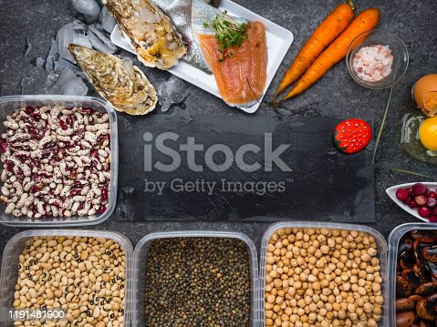 istock Assortment of healthy food containing iodine. Natural products rich in I, vitamins, micronutrients. Useful food for health and balanced diet. Prevention of avitaminosis. 1191481900