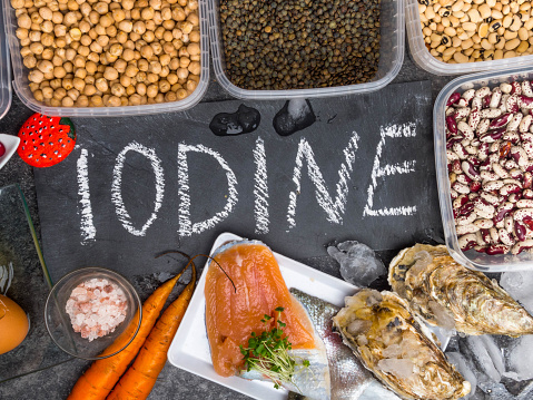 istock Assortment of healthy food containing iodine. Natural products rich in I, vitamins, micronutrients. Useful food for health and balanced diet. Prevention of avitaminosis. 1191481926