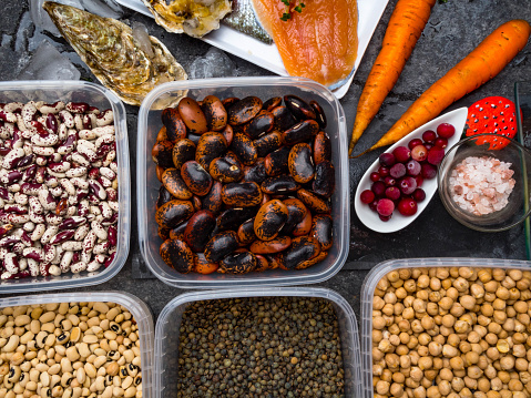 istock Assortment of healthy food containing iodine. Natural products rich in I, vitamins, micronutrients. Useful food for health and balanced diet. Prevention of avitaminosis. 1191482302
