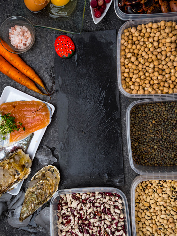 istock Assortment of healthy food containing iodine. Natural products rich in I, vitamins, micronutrients. Useful food for health and balanced diet. Prevention of avitaminosis. 1191482323