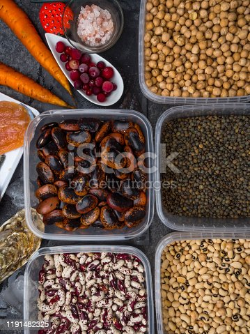 istock Assortment of healthy food containing iodine. Natural products rich in I, vitamins, micronutrients. Useful food for health and balanced diet. Prevention of avitaminosis. 1191482325