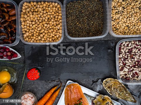 istock Assortment of healthy food containing iodine. Natural products rich in I, vitamins, micronutrients. Useful food for health and balanced diet. Prevention of avitaminosis. 1191482339