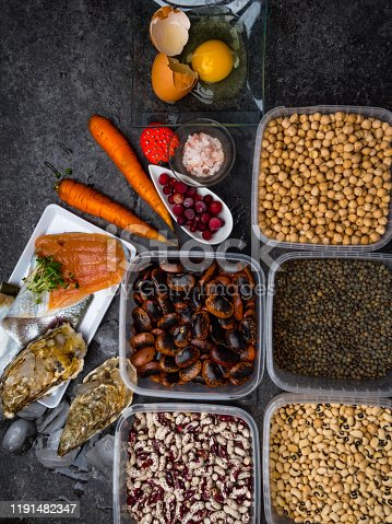 istock Assortment of healthy food containing iodine. Natural products rich in I, vitamins, micronutrients. Useful food for health and balanced diet. Prevention of avitaminosis. 1191482347