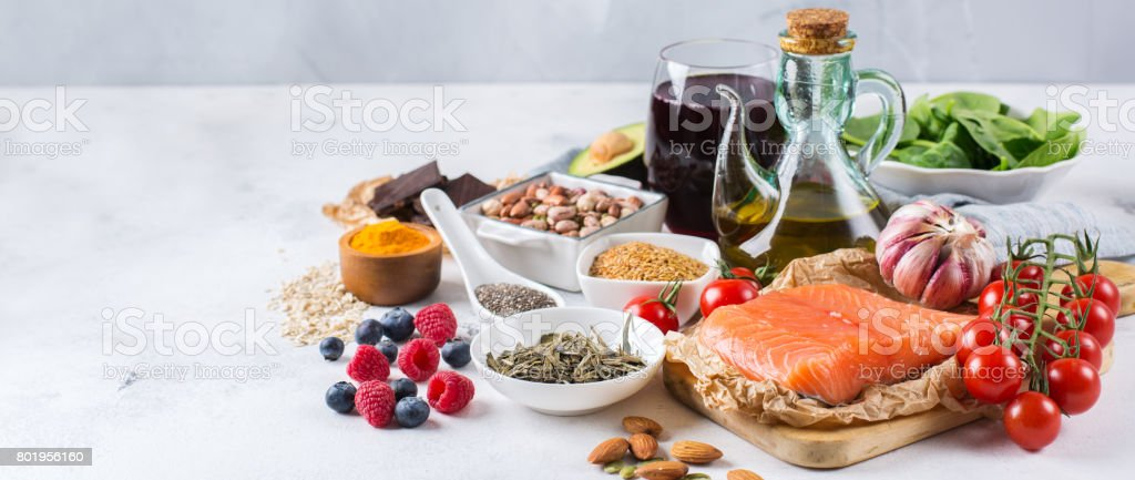 Assortment of healthy food low cholesterol stock photo