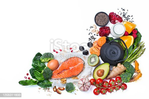 854725402 istock photo Assortment of healthy food, superfood ingredients for cooking on table 1205311833