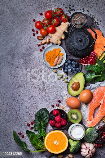 854725402 istock photo Assortment of healthy food, superfood ingredients for cooking on table 1205312285