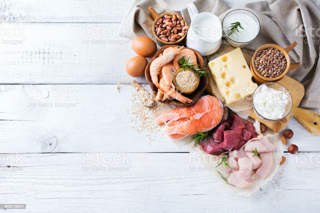 Assortment of healthy protein source and body building food stock photo