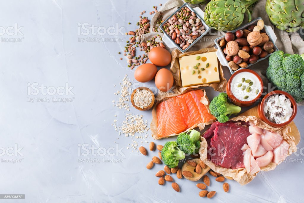 Assortment of healthy protein source and body building food royalty-free stock photo