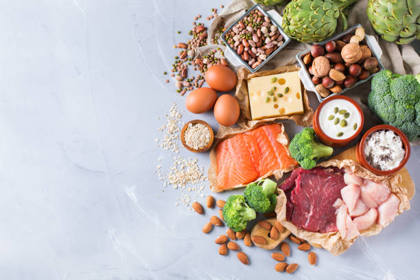 assortment of healthy protein source and body building food - food and drink stock photos and pictures