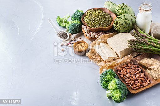 istock Assortment of healthy vegan protein source and body building food 801117872