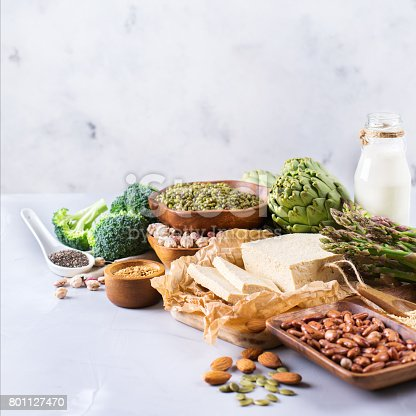 istock Assortment of healthy vegan protein source and body building food 801127470