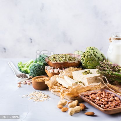 istock Assortment of healthy vegan protein source and body building food 801127524
