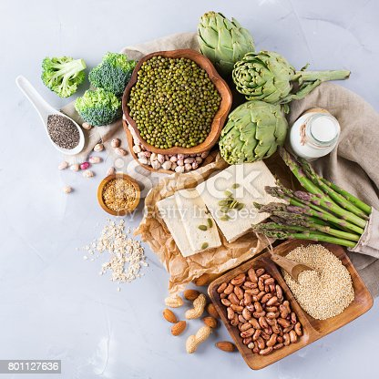 istock Assortment of healthy vegan protein source and body building food 801127636