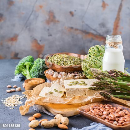 istock Assortment of healthy vegan protein source and body building food 801138136