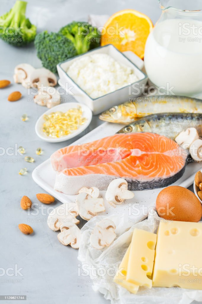 Assortment Of Healthy Vitamin D And Calcium Source Food Stock Photo Download Image Now