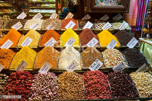 spice and herbal tea piles in spice bazaar in istanbul