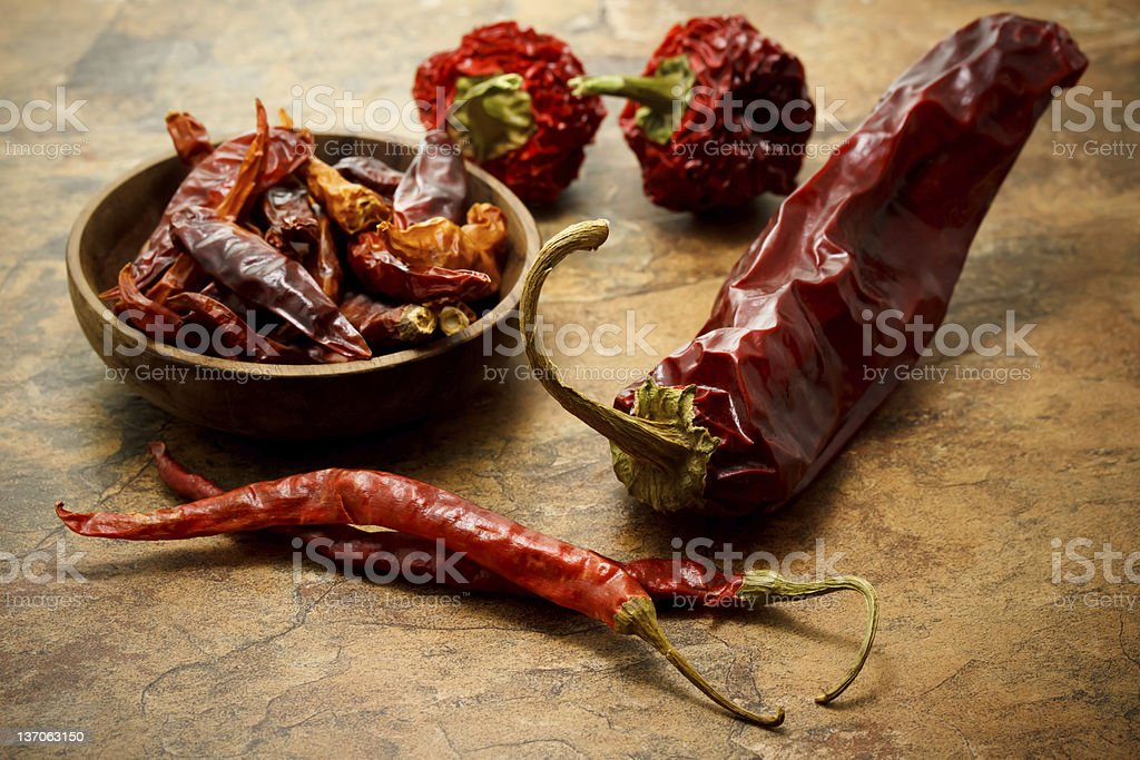 Assortment of hot peppers stock photo