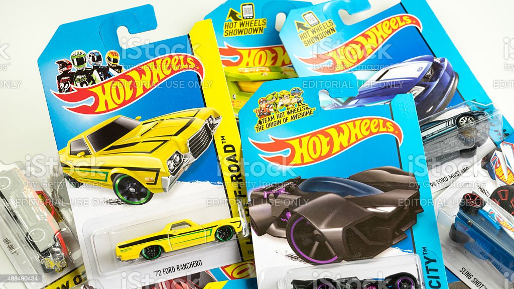 Assortment of Hot Wheels die cast carded car model stock photo