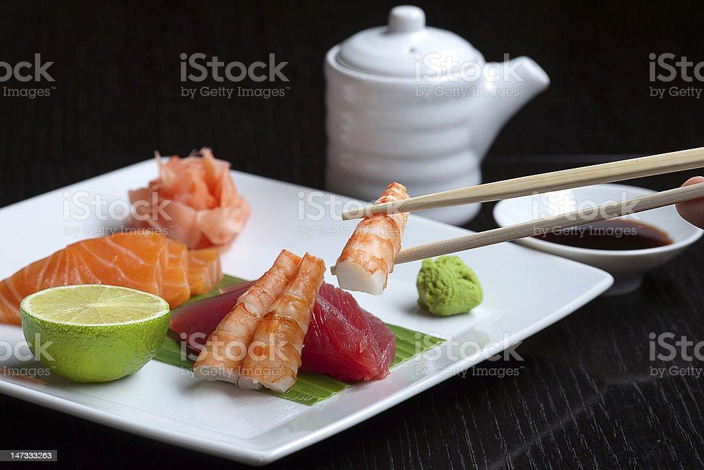 Assortment of Japanese Sushi royalty-free stock photo