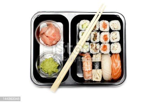 istock Assortment of Japanese Sushi Set on white 144363345