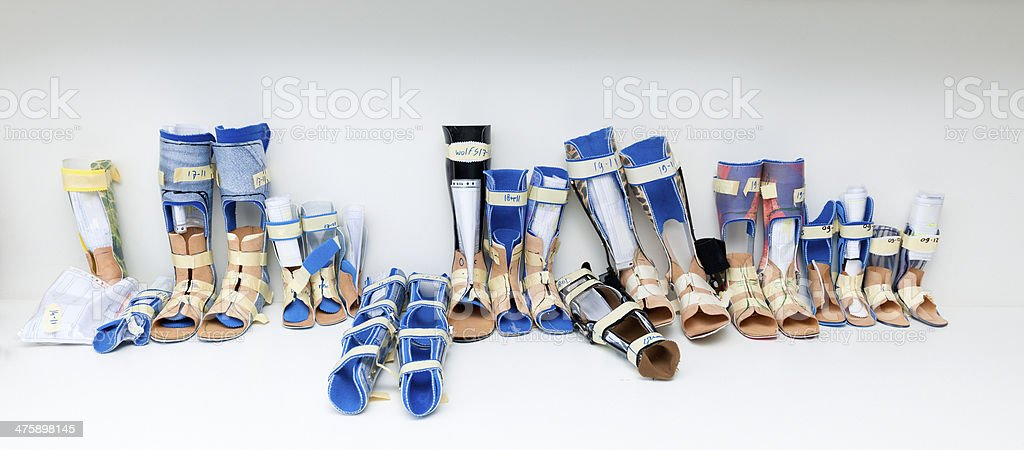 assortment of leg prosthesis in the making royalty-free stock photo