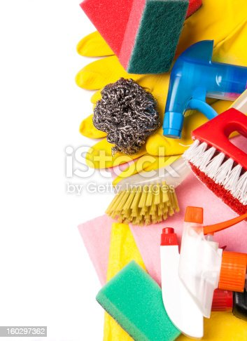 istock Assortment of means for cleaning and washing 160297362
