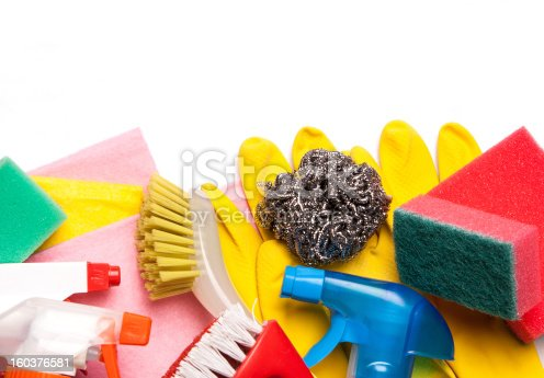 istock Assortment of means for cleaning and washing 160376581