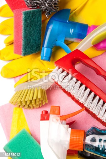 istock Assortment of means for cleaning and washing 160378012
